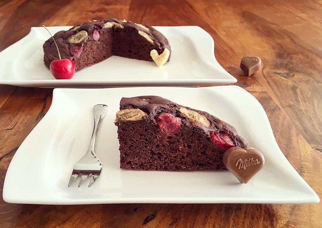 Schoko Banane Kirsch Kuchen Fitandsoulfood