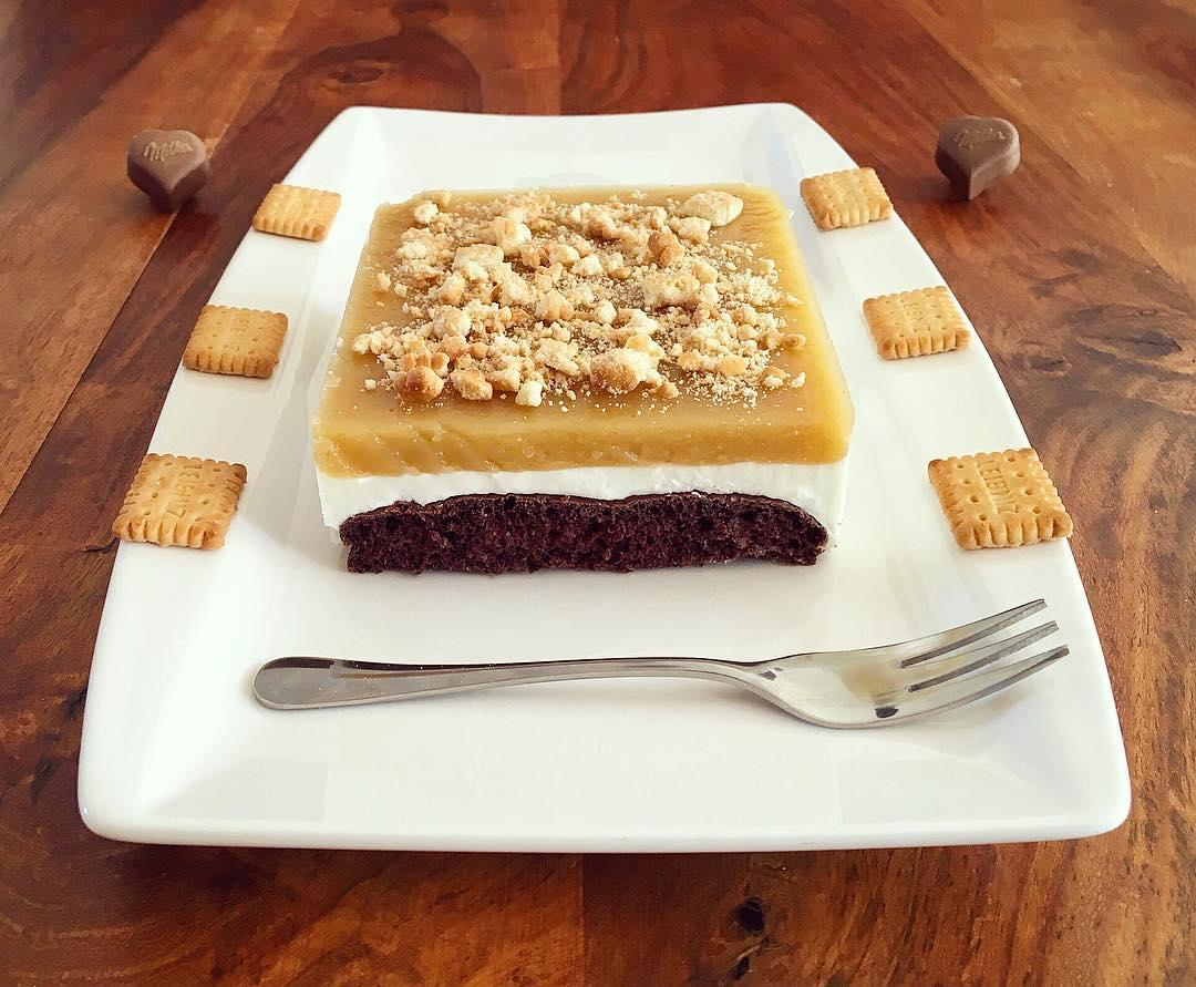 Schoko Apfelmus Butterkeks Kuchen Fitandsoulfood