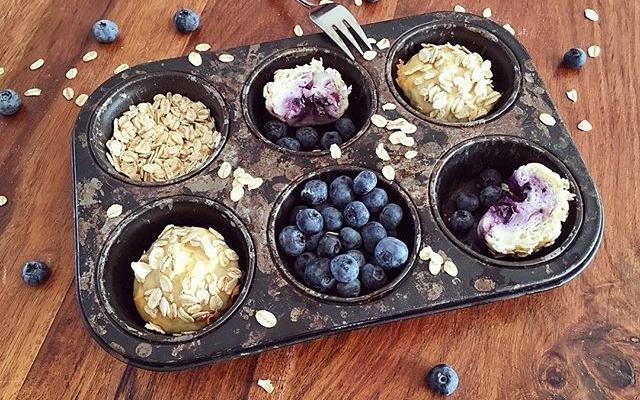Blaubeer Weiße Schokolade Haferflocken Muffins