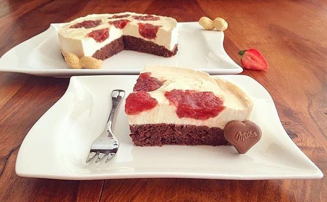 Schoko Erdnussbutter und Marmeladen Kuchen